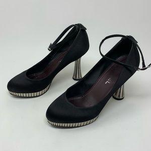 Chanel black disco mirror heel satin pumps